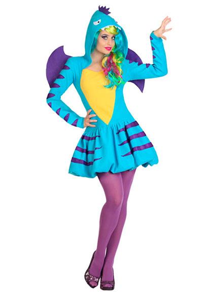 Disfraz de Dragón Azul Mujer