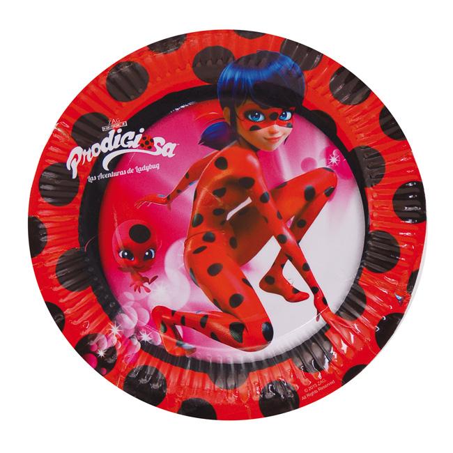 Platos medianos cumpleaños ladybug