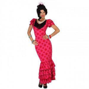 disfraz sevillana rosa