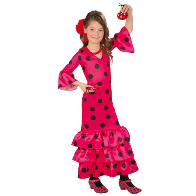 Disfraz de sevillana para niña rosa