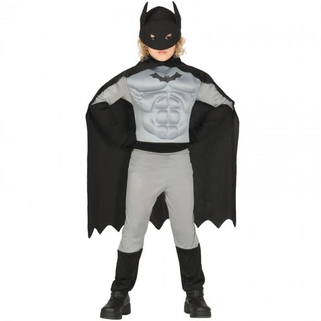 Disfraz de Héroe Murciélago con músculos para niño