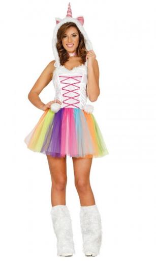 disfraz unicornio multicolor mujer