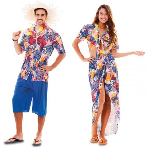 pareja disfraces hawaianos