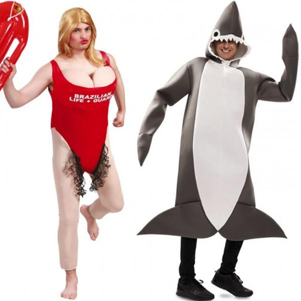 disfraz vigilante de la playa y tiburón