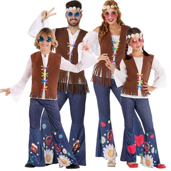 grupo disfraces hippies