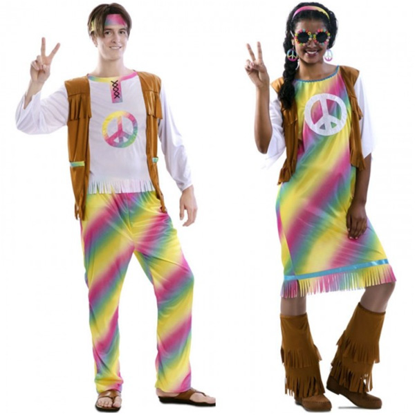 pareja de disfraces de hippies