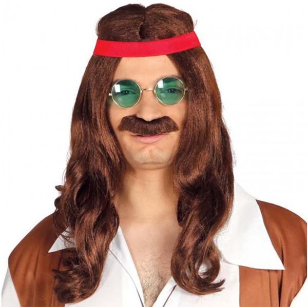 peluca lisa hippie con bigote