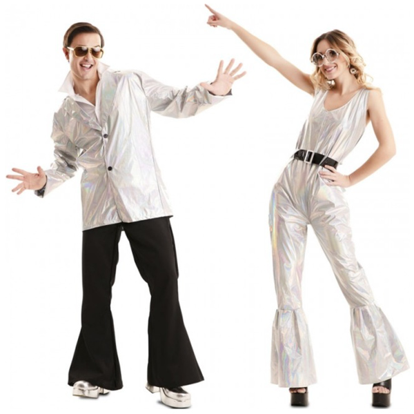 disfraz pareja disco deslumbrante